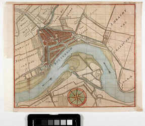 2001-692 Kaart van Rotterdam en omgeving met weergave van de aanwassen aan beide zijden van de rivier.
