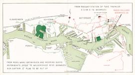 2001-693 Kaart van de havens van Rotterdam met aanwijzing van de tramlijnen en de route naar de vestiging van Radio ...