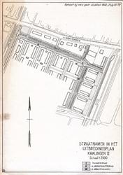 2001-699 Plattegrond van het uitbreidingsplan Kralingen II, met vermelding van de nieuwe straatnamen: Tuiderspad ...