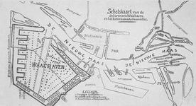 2005-1376 Schetskaart van de Rotterdamse havens en de te graven Waalhaven