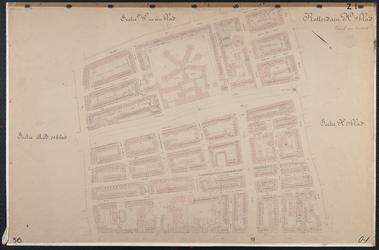 40110-Z1 Kadastrale kaart van Rotterdam, sectie H, eerste blad: Oude Noorden. Het afgebeelde gebied wordt begrensd door ...