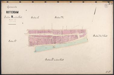 40110-Z17 Kadastrale kaart van Rotterdam, sectie N, in 1 blad: rondom Boerensteiger en Houttuin. Het gebied wordt ...