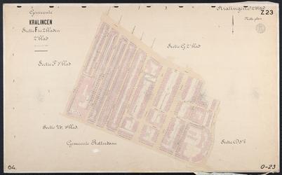40110-Z23 Kadastrale kaart van Kralingen, sectie F, 2e blad: ten zuiden van de Lusthofstraat. Het gebied wordt begrensd ...