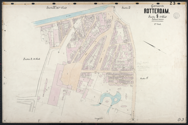 40110-Z3 Kadastrale kaart van Rotterdam, sectie S, 2e blad, 2e gedeelte. Het gebied wordt gegrensd door de Schiekade, ...