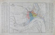 I-100-01 Plattegrond van Rotterdam waarop de stadswijken zijn ingekleurd