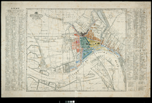 I-100 Plattegrond van Rotterdam, met pen en inkt en penseel en waterverf indeling in 25 wijken.