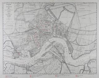 I-124 Kaart van Rotterdam met vermelding van de bewaarscholen en de scholen voor lager onderwijs en (meer) uitgebreid ...