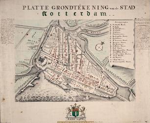 I-14-01 Gereconstrueerde plattegrond van de stad Rotterdam anno 1488.