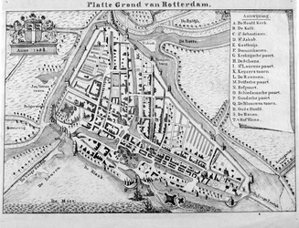 I-14 Reconstructiekaart van Rotterdam omstreeks 1488.