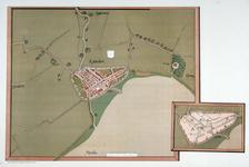 I-16 Rotterdam en omgeving. De bijkaart, of het carton, vertoont alleen de verdedigingswerken, de voornaamste gebouwen ...