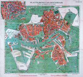 I-187 Plattegrond van Rotterdam. Inzet: plattegrond binnenstad.