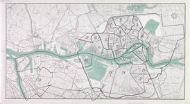 I-203 Kaart van Rotterdam en omgeving met daarop aangetekend een verdeling in wijken (1 t/m 32)