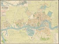 I-204 Plattegrond van Rotterdam en omgeving. Inzet linksboven: kaart van de waterweg van Rotterdam naar zee.