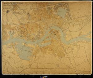 I-210-02 Plattegrond van Rotterdam en omgeving met aanduiding van de plaatsen waar tijdens de bezetting bommen zijn ...