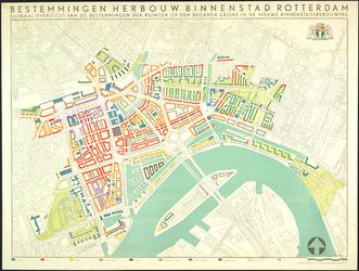 I-215-15A Kaart van het basisplan voor de herbouw van de binnenstad van Rotterdam