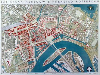 I-215-II Plattegrond van de binnenstad van Rotterdam met een plan voor de herbouw van de binnenstad