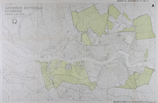 I-237 Kaart van Rotterdam en omgeving met aanduiding van gebieden bij Hoogvliet, IJsselmonde, Kralingen en Overschie