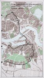 I-252 Kaart van het middendeel van Rotterdam met geplande tramtunnellijnen in 1962