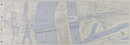 I-252A Plattegrond van de spoorbruggen over de Nieuwe Maas, de Willemsbrug en Koninginnebrug en omgeving en de ...