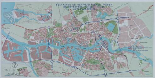 I-258 Plattegrond van Rotterdam en omgeving met daarop aangetekend de bestaande en geprojecteerde wegen en ...
