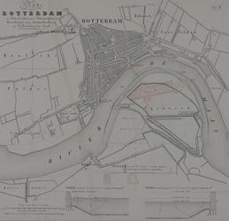 I-56 Kaart van Rotterdam en omstreken met ontwerpen ter beveiliging tegen stormvloeden en voor de uitbreiding van de stad