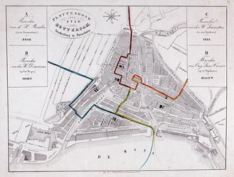 I-57 Plattegrond van Rotterdam met de parochiale verdeling van de stad