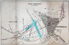I-68-1 Kaart van Rotterdam met de geprojecteerde staatsspoorlijn van Feijenoord naar Rotterdam