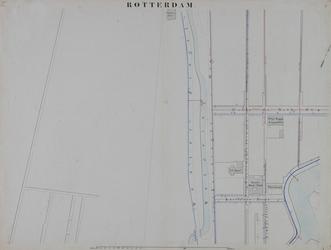I-69-C Kaart van Rotterdam in 14 bladen (A t/m I, K t/m O) waarop het net van rioleringsbuizen en waterleidingen is ...