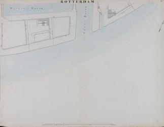 I-69-E Kaart van Rotterdam in 14 bladen (A t/m I, K t/m O) waarop het net van rioleringsbuizen en waterleidingen is ...