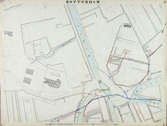 I-69-F Kaart van Rotterdam in 14 bladen (A t/m I, K t/m O) waarop het net van rioleringsbuizen en waterleidingen is ...