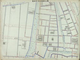 I-69-G Kaart van Rotterdam in 14 bladen (A t/m I, K t/m O) waarop het net van rioleringsbuizen en waterleidingen is ...