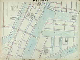 I-69-H Kaart van Rotterdam in 14 bladen (A t/m I, K t/m O) waarop het net van rioleringsbuizen en waterleidingen is ...