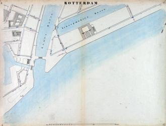 I-69-I Kaart van Rotterdam in 14 bladen (A t/m I, K t/m O) waarop het net van rioleringsbuizen en waterleidingen is ...