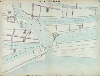 I-69-L Kaart van Rotterdam in 14 bladen (A t/m I, K t/m O) waarop het net van rioleringsbuizen en waterleidingen is ...