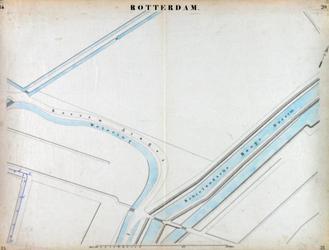 I-69-M Kaart van Rotterdam in 14 bladen (A t/m I, K t/m O) waarop het net van rioleringsbuizen en waterleidingen is ...