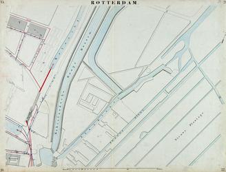 I-69-N Kaart van Rotterdam in 14 bladen (A t/m I, K t/m O) waarop het net van rioleringsbuizen en waterleidingen is ...