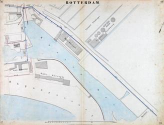 I-69-O Kaart van Rotterdam in 14 bladen (A t/m I, K t/m O) waarop het net van rioleringsbuizen en waterleidingen is ...