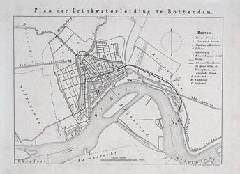 I-70 Plankaart waarop het drinkwaterleidingnet te Rotterdam is ingetekend.
