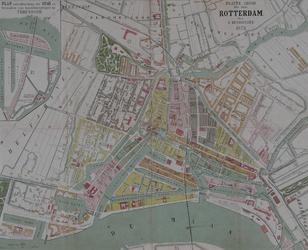 I-72 Plattegrond van Rotterdam. Het afgebeelde stadsgebied wordt begrensd door het Park, de Drievriendenstraat (Oude ...