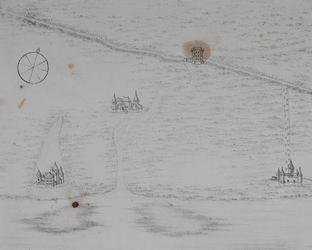 I-8-2 Historiekaart van Rotterdam omtrent het jaar 1100. De zien zijn: Slot Bulgersteyn, het Hof van Weena, de toltoren ...