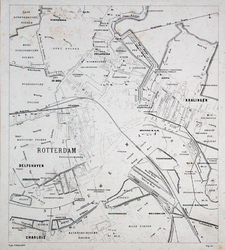 I-82-1-TM-4 Plattegrond van Rotterdam en omgeving. Het afgebeelde gebied wordt begrensd door de dorpen Charlois, ...