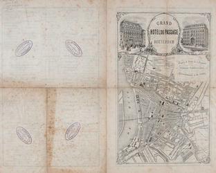 I-86 Plattegrond van Rotterdam op een reclameblad van Grand Hotel du Passage. Bovenaan de naam van het hotel met ...