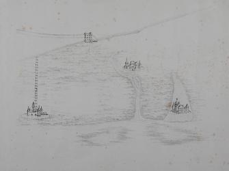 I-9 Historiekaart van Rotterdam omstreeks het jaar 1100. De zien zijn: Slot Bulgersteyn, het Hof van Weena, de toltoren ...