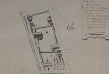 II-1 Platttegrond van een terrein gelegen tussen de Botersloot, de Kipstraat, Korte Pannekoekstraat, Halstraat en ...