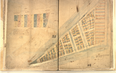 II-10-17 Plattegrond van grondpercelen op het terrein van de voormalige Schiedamse Poort aan de Korte Hoogstraat. Het ...
