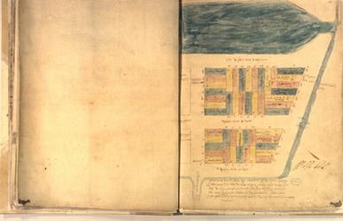 II-10-18 Plattegrond van grondpercelen gelegen tussen de Leuvehaven, Wijnhaven en Blaak. Het afgebeelde geboed woordt ...