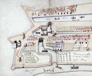 II-10-X Kopie van een plattegrondtekening van het oostelijke deel van de stadsdriehoek.