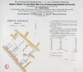 II-111-01 Plattegrond van een te verkopen zomerverblijf gelegen tussen de Schiekade en de Vijverhofstraat