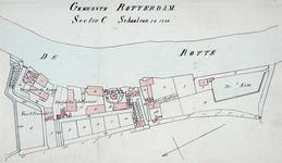 II-120 Plattegrond van de bebouwing tussen de Rotte en de Zwaanshals met inbegrip van de zaagmolens De Zwaan, De ...