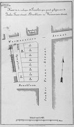 II-131 Kaart van te verkopen percelen grond gelegen aan de Jonker Fransstraat, Boschlaan en Warmoeziersstraat